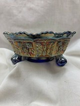 "Fenton BUTTERFLY & BERRY Blue marigold Carnival Glass Claw Footed 5¼"" Be... - $29.99"
