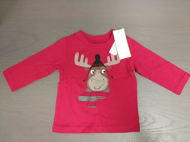 First Impressions Long Sleeve Infants Shirt, Tango Red, Winter Moose Graphic, 3 - $9.89