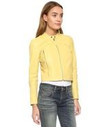 Womens Yellow Leather Jacket Biker Moto Lambskin Size XS S M L XL XXL Cu... - $149.40+
