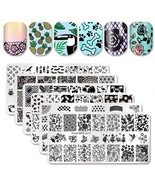 Born Pretty 6Pcs Nail Art Stamping Template Set French Design Flower Lac... - $32.91