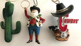 Cowboy Santa, Saguaro Cactus & Cowboy Hat Christmas  Ornaments set of 3 ... - $19.79