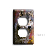 Gray Wolf in the autumn forest colorful woods duplex outlet receptacle wall plat - $10.99