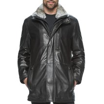 Faux Fur Collar Men Leather Coat