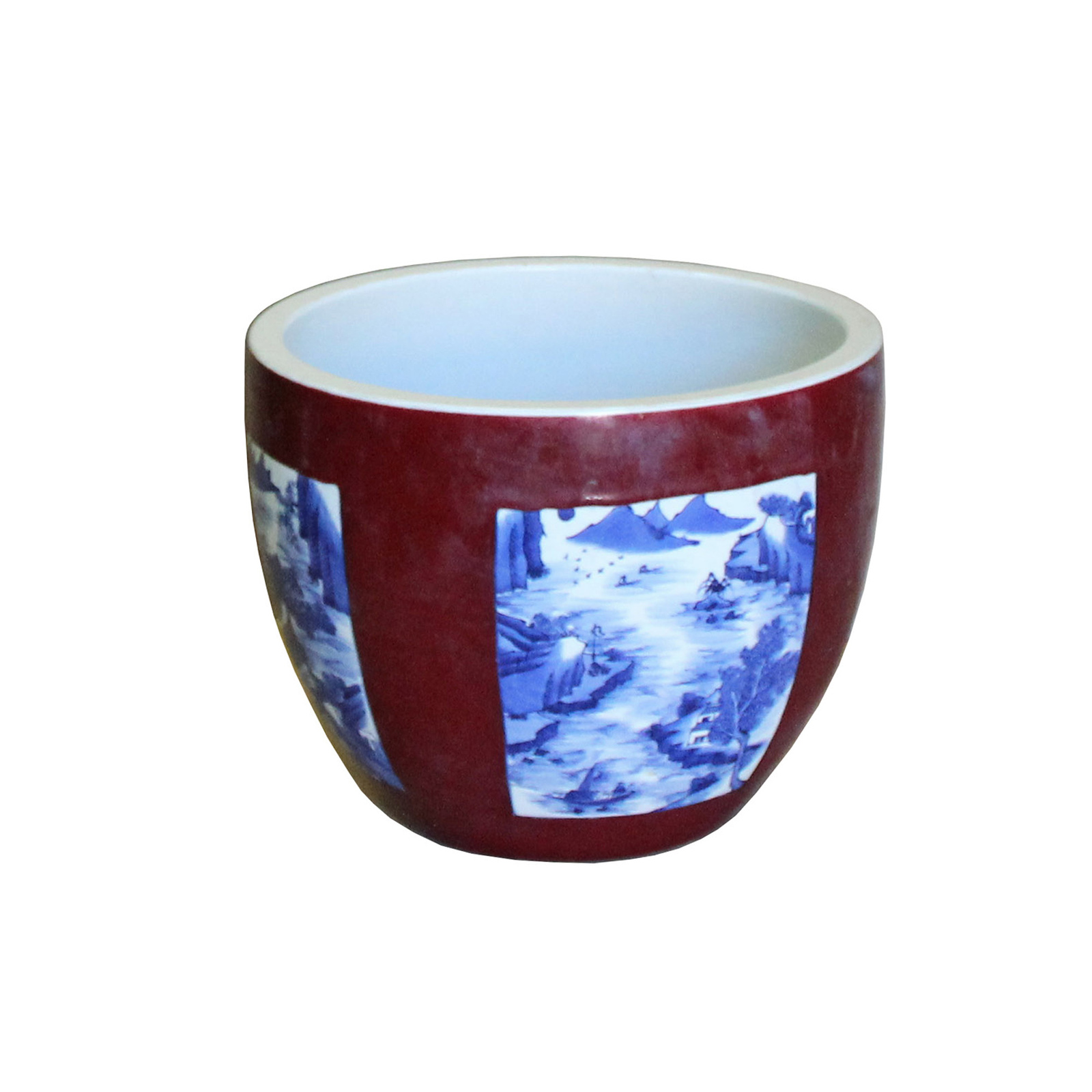 Primary image for Chinese Red Blue & White Oriental Graphic Ceramic Pot Planter cs4275