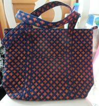 Vera Bradley Villager large zipper tote in mini concerto navy & orange - $54.00