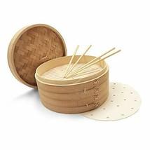 OKAIDY Handmade Carbonized Bamboo Steamer Basket 10 Inch 2-Tier Dumpling... - $39.25