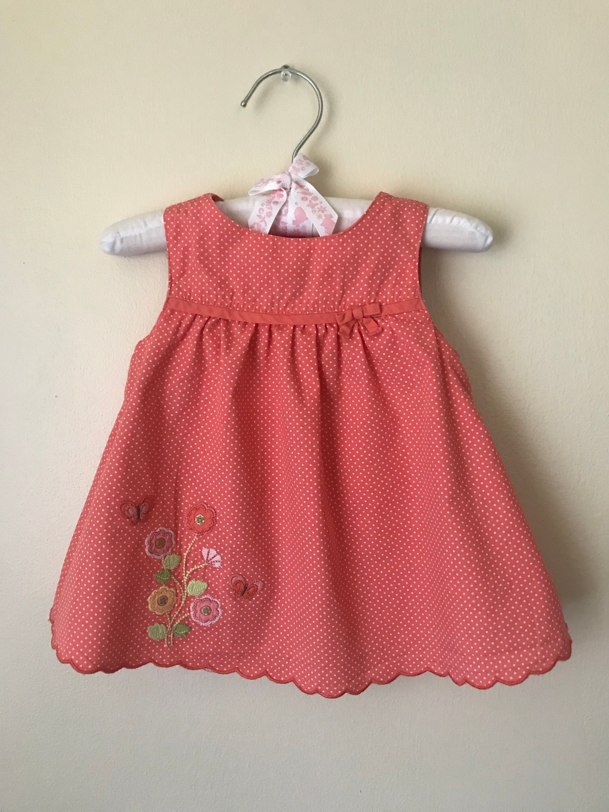 White Gymboree Toddler Girls Bow Dress Embroidered Flowers 2T 18-24 Months