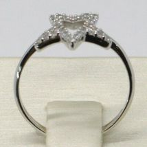 18K WHITE GOLD STAR CENTRAL ZIRCONIA RING, BRIGHT, LUMINOUS, BAND, MADE IN ITALY image 3
