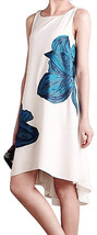 Anthropologie Embroidered Blooms Dress Petite Large P10 P12 Ivory Blue HIgh Low - $126.65