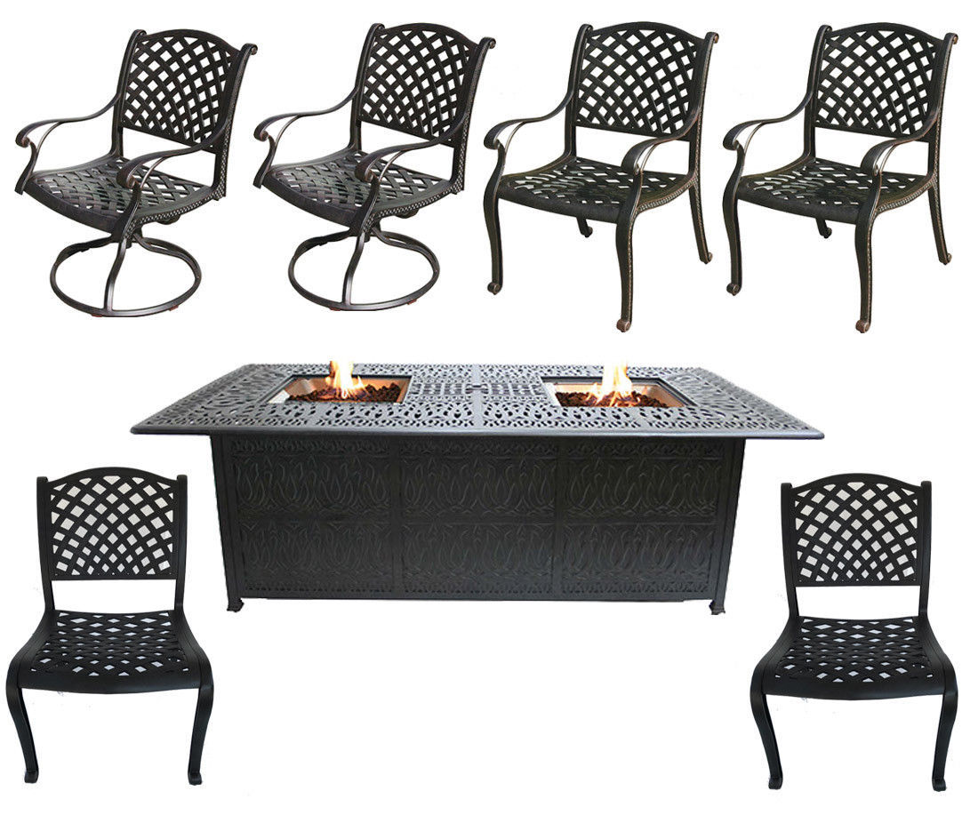 Cast Aluminum Patio Furniture Elisabeth 7 Piece Patio Dining Set Double Burner