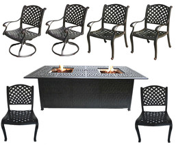 Cast Aluminum Patio Furniture Elisabeth 7 Piece Patio Dining Set Double Burner image 1