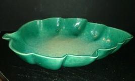 VTG USA Pottery Leaf Shaped Bowl~ Blue/Green/Cream Sponge Design Marked ... - $8.42