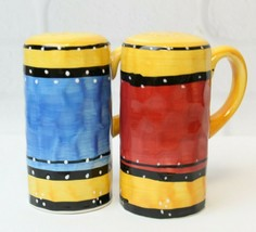Tabletops Bohemian Stripe Hand Painted Salt Pepper Shaker Set Discontinued - $19.99
