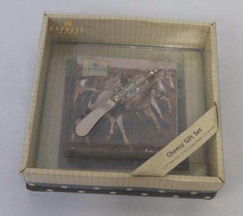 Cypress Home P1101310 Cheesy Gift Set Morning Run NApkins Glass Trivet Spreader