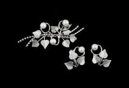 VTG Van Dell Sterling Silver 50s Ivy Leaves Pearls Brooch Screwback Earr... - $58.49