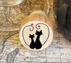 Wine Stopper, Silhouette Cats Handmade Wood Bottle Stopper, Cat Gift Sty... - $8.86