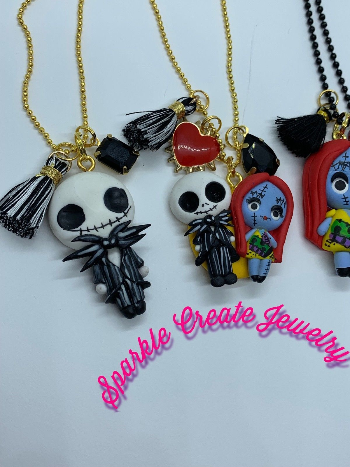 The Nightmare Before Christmas Jack, Couple, or Sally Clay Charm Necklace