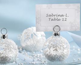 204 White Winter Snowflake Glass Ornament Place Card Photo Holder Weddin... - $242.25