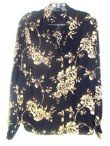 Size 18 - Laura Scott Black w/Cream Gold Roses Print Silk-feel Blouse - $23.75