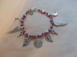 Red and Pink Charm Bracelet - $7.70