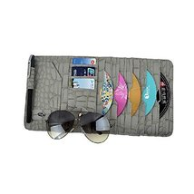 PANDA SUPERSTORE Croco Leather CD DVD Car Auto Visor Organizer Holder Case (Gray