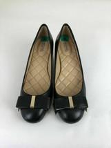Michael Kors Kiera Mid Pumps Black Leather Shoes Size 8.5 - $69.29