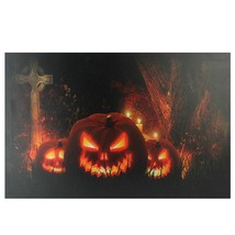 "Northlight Jack-O-Lanterns Cemetery Halloween LED Canvas Wall Art 23.5"" ... - $22.76"