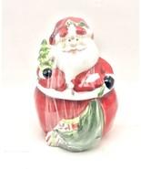 Jolly Santa Cookie Jar Ceramic Christmas Holiday 7.5 Inch New - $28.70