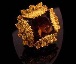 Antique Czech Ring - huge topaz Glass - ornate setting - size  5 1/2 -6 - czecho - $195.00