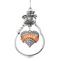 Inspired Silver Orange and White Coach Pave Heart Snowman Holiday Ornament - $14.69