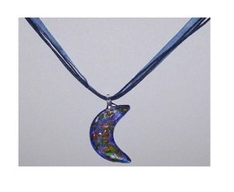 Necklace Blue Gold White Crescent Moon Glass Bead Blue Ribbon Cord - $20.95