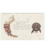 Vintage Postcard Thanksgiving Cornucopia with Fruit and Vegetables Turke... - $6.92