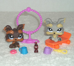 Littlest Pet Shop 509, 883 Yorkie Puppy Dogs Realistic Eyes & Accessory ... - $24.70