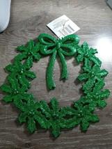 (2) Christmas House Green Glittery Poinsettia Ornament Decoration. New - $14.80