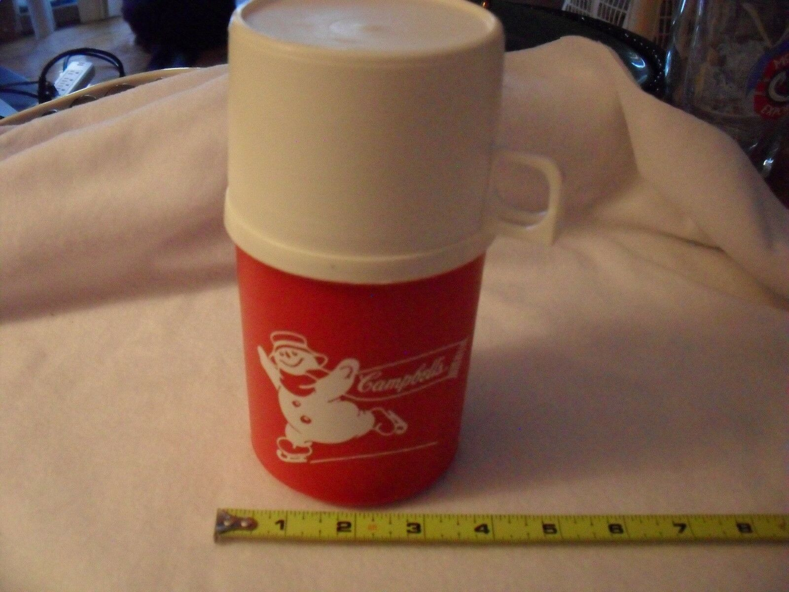 thermos Campbell's Soup Ice Skating Snowman Collectible Holiday red white 3 pc.