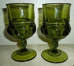 Vintage Indiana Glass Kings Crown Thumbprint Design Olive Green Color Go... - $29.99