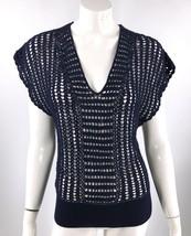 Forever 21 Top Medium Navy Blue Open Knit Dolman Crochet Tie Back Neck W... - $10.95