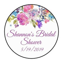 """30 Bridal shower Stickers Favors Labels round 1.5"""" Wedding baby flowers ... - $8.99"""