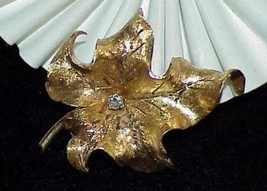 14k .10ct Diamond Maple Leaf Brooch Pin Burnished Yellow Gold Decorated ... - $890.99