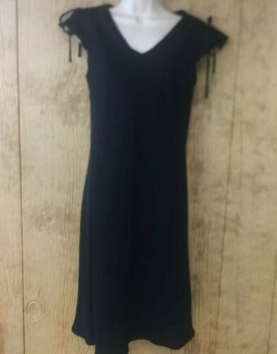 Ann Taylor LOFT Sheath Dress Sz 6 Black Flutter Cap Tie Accent Sleeves Flowy