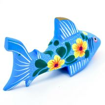 Handmade Alebrijes Oaxacan Painted Wood Folk Art Flower Shark Figurine image 3