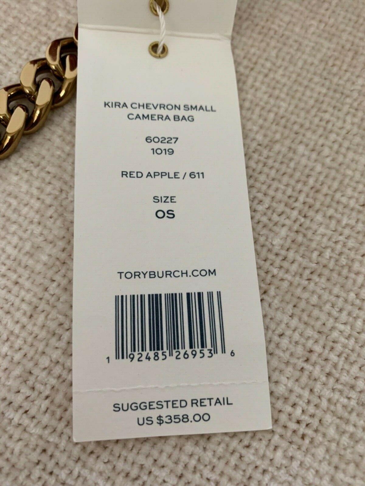 NWT Tory Burch Red Apple Kira Chevron Small Camera Bag $358 image 11