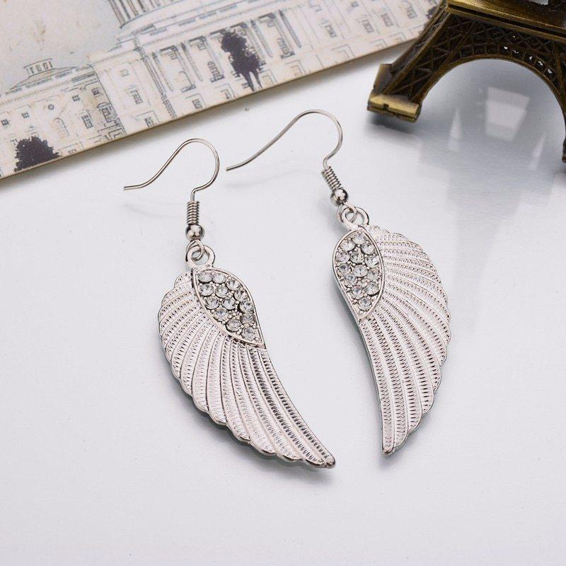 BAHYHAQ - Pending Rhinestone Alloy Wings Drop Earrings Female Brincos