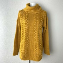 Talbots Womens Yellow Wool Blend Chunky Cable Knit Pullover Sweater Size... - $24.74