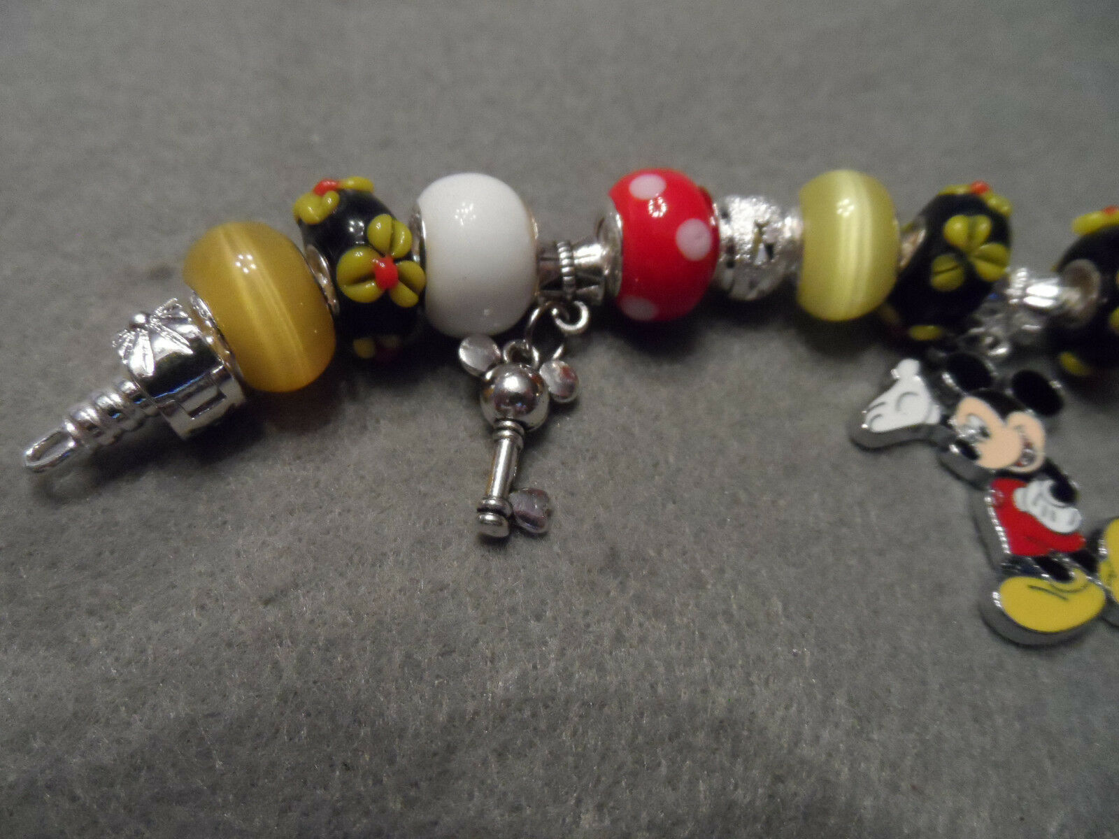 Authentic Pandora bracelet with Disney Mickey Mouse themed beads image 4