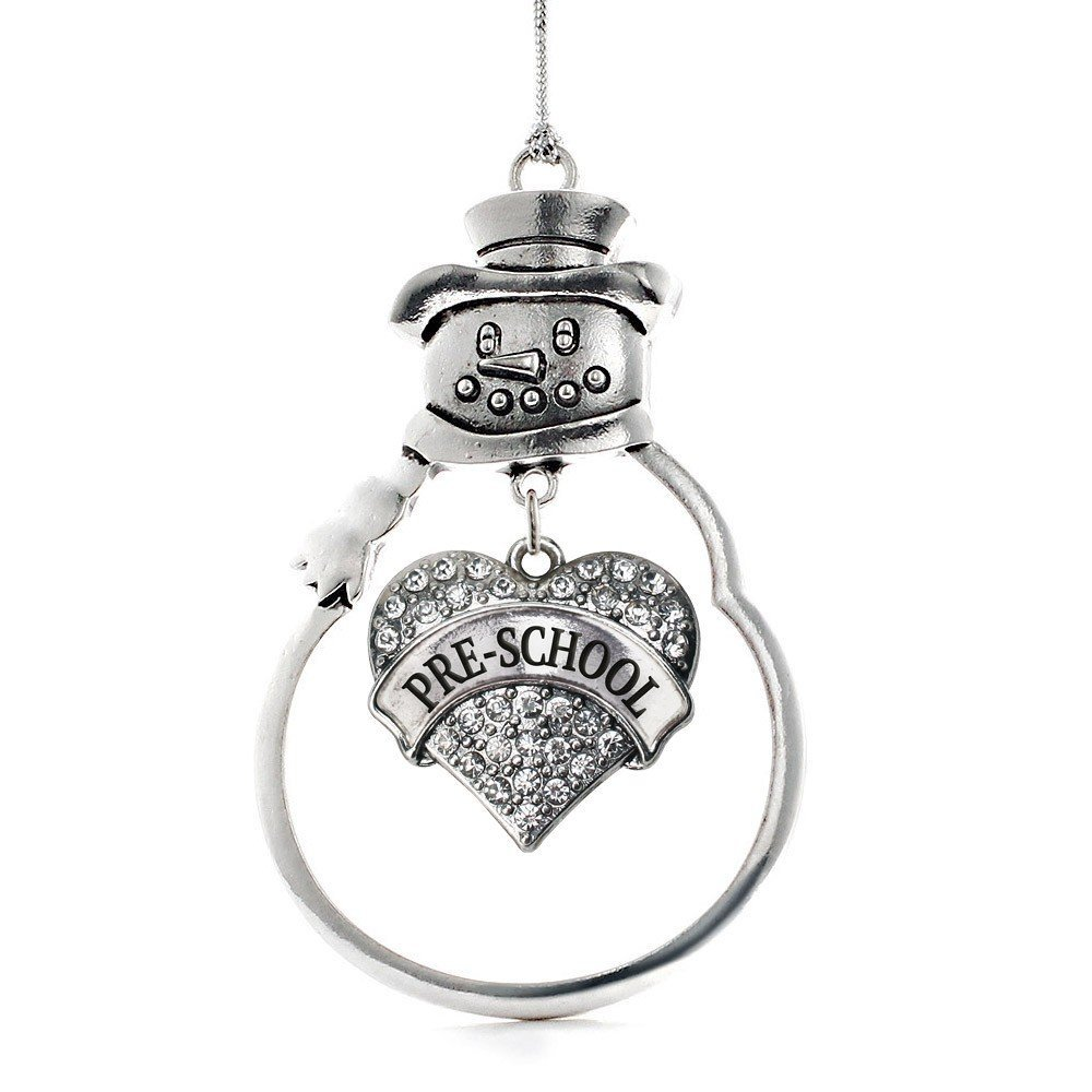 Primary image for Inspired Silver Pre-School Pave Heart Snowman Holiday Christmas Tree Ornament Wi