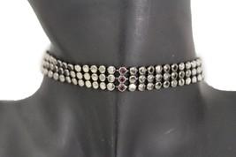 Women Gunmetal Pewter Fashion Jewelry Mesh Metal Choker Necklace Purple ... - $8.81