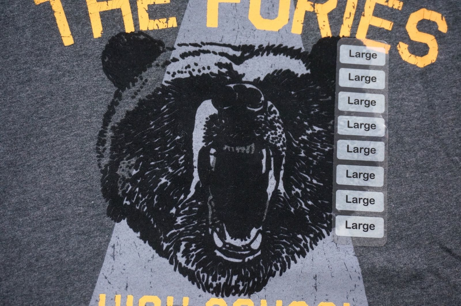 NEW AMERICAN RAG CHARCOAL THE FURIES HIGH SCHOOL BASEBALL BEAR T-SHIRT SZ L
