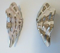 Vtg Signed Avon 1986 SILVER PLATED ENCHANTED WINGS Clip On Earrings w Box - $9.00