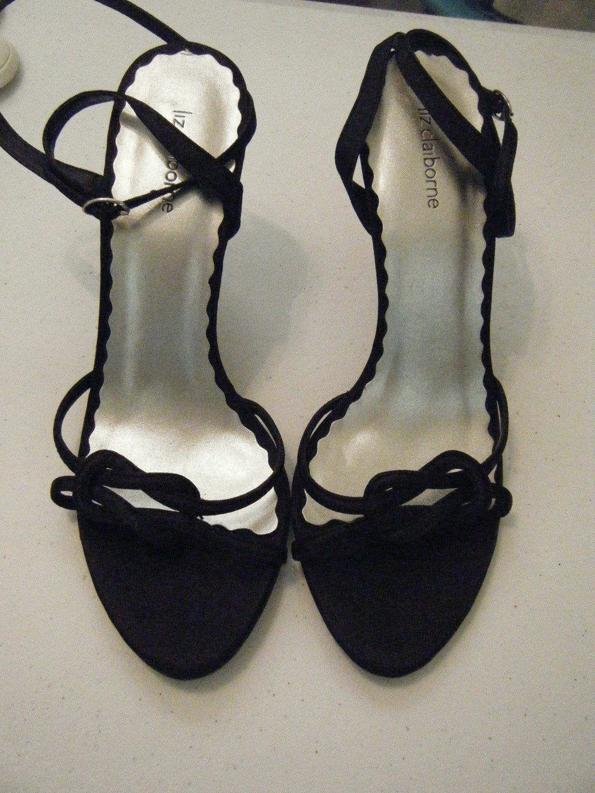 LIZ CLAIBORN BLACK DRESS SANDLES WITH ANKLE STRIP SIZE 9 NEW